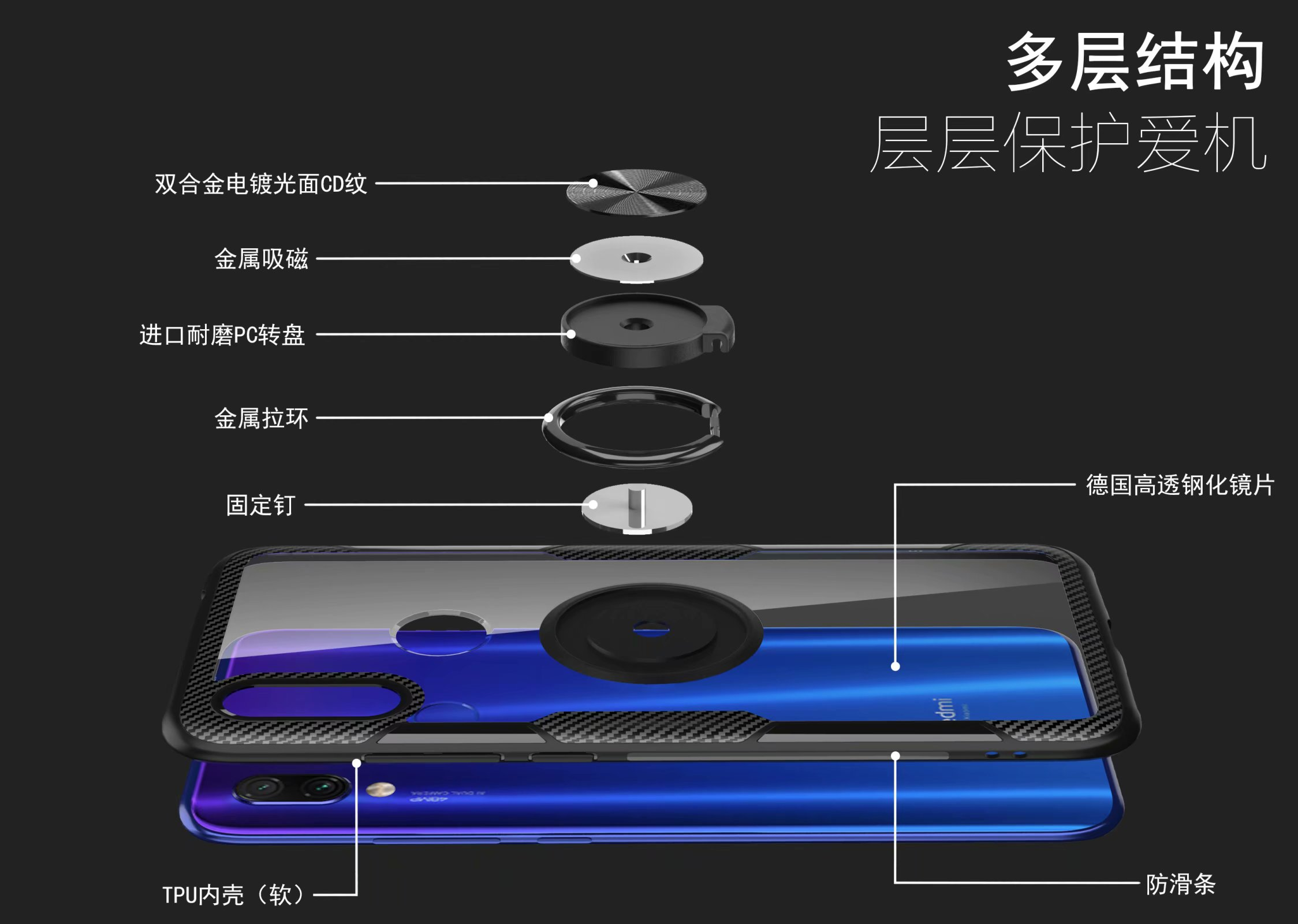 HTB1J45HUIfpK1RjSZFOq6y6nFXaO For Xiaomi Redmi Note 7 Pro Case With Ring Stand Magnet Transparent shockproof Protective Back Cover case for xiaomi redmi 7