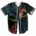 EUA Tamanho Animal Print 3D Papagaio Floresta Botões Camisa Homme Jérsei De Basebol 3D Streetwear Tees Camisas Hip Hop Roupas de Marca