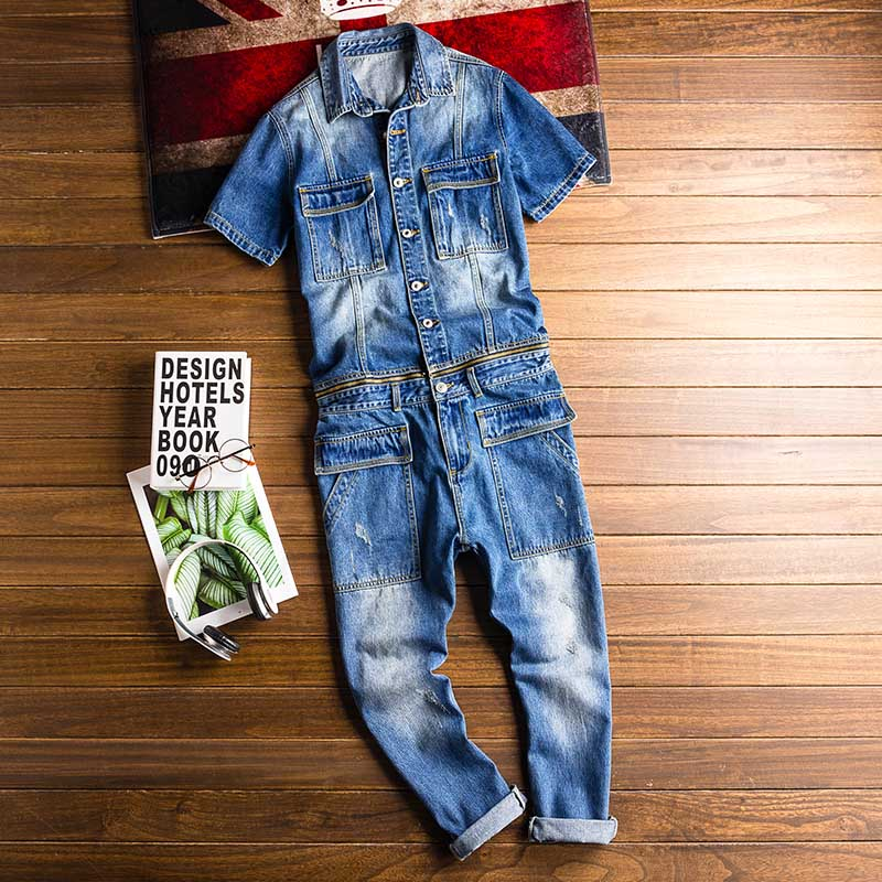 Mcikkny New Fashion Men\`s Ripped Denim Bib Overalls With Jackets Multi pockets Jeans Jumpsuit For Male Washed Size M-2XL (2)
