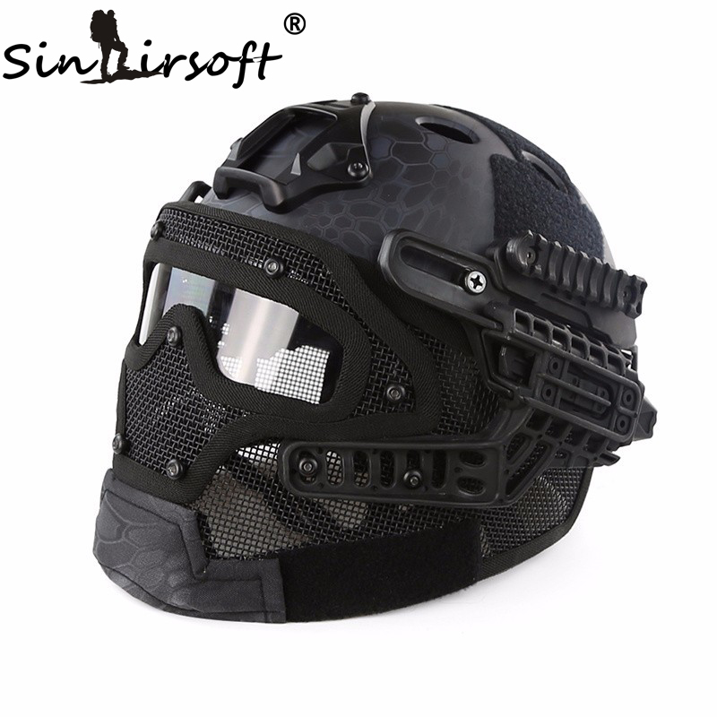 SINAIRSOFT Tactical Helmet New G4 System ABS Full Face Mask With Goggle For Military Airsoft Paintball Army fast helmet nobrand rakzo60r