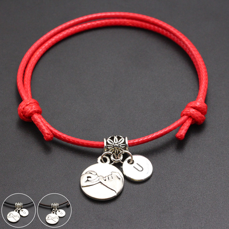 2020 New A-Z English Alphabet Pinky Promise Pendant Red Thread String Bracelet Handmade Diy Lucky Rope Bracelet For Women Men