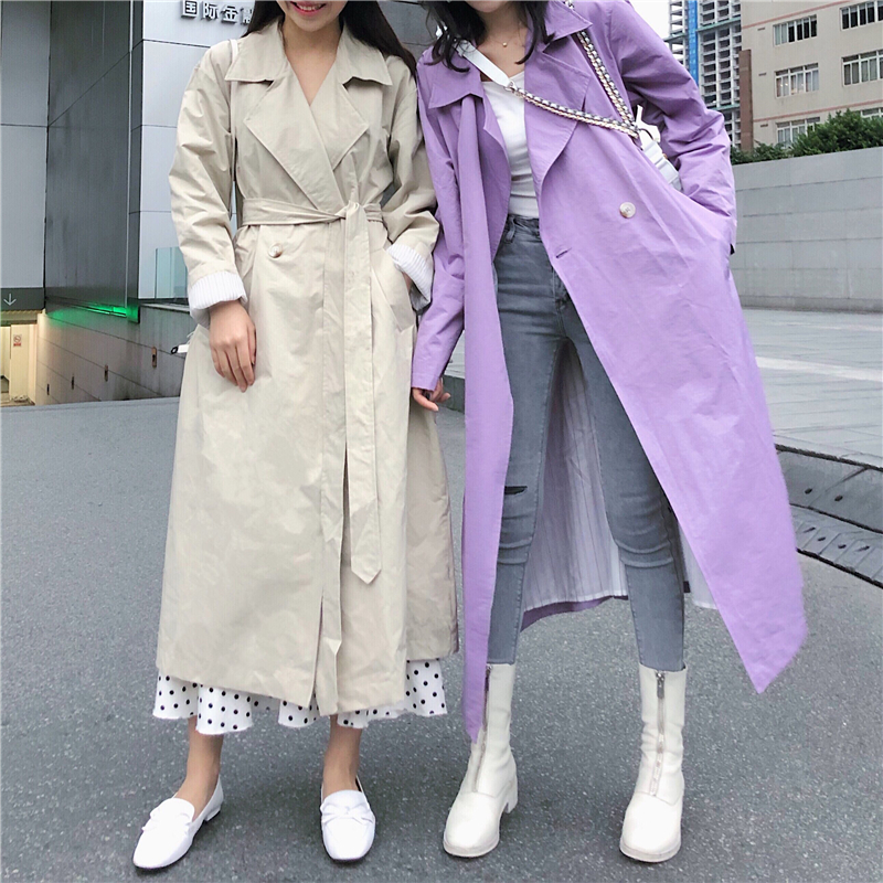 Women's Plus Size Khaki Blue   Trench   Coat double Breasted Long   Trench   Coats with Belt windbreaker