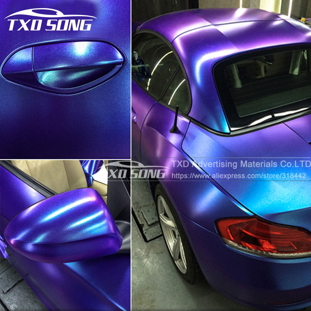 New arrival Chameleon pearl glitter vinyl sticker Dark blue to purple Chameleon car wrap film Pearl glitter diamond vinyl film faux pearl detail glitter choker