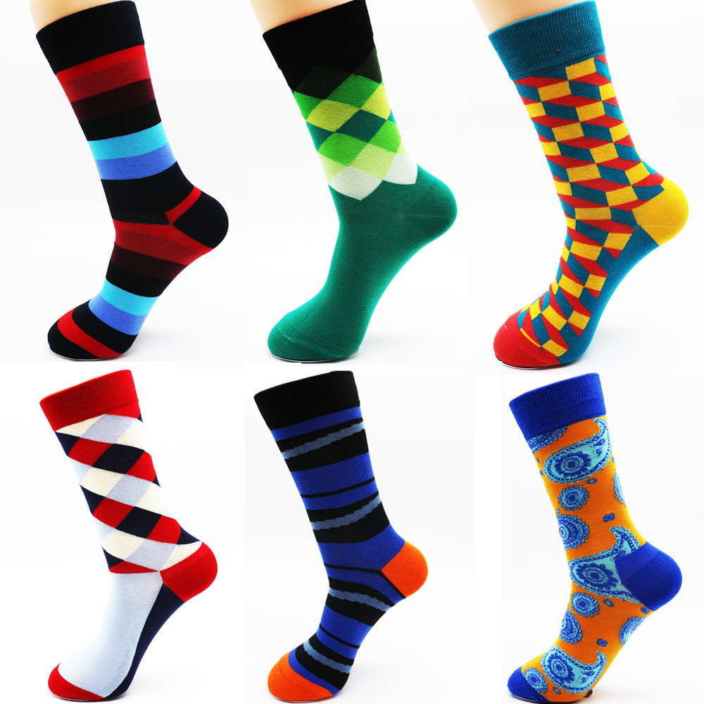 New winter mens colorful cotton stripe socks Brand high quality fashion hip hop skateboard novelty mens dress socks (6 pairs )