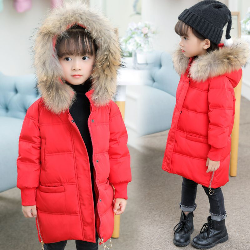 Children new winter girl coat fashion hooded warm down jacket thicken girl cotton long Parkas coat cotton Outerwear & Coats K084