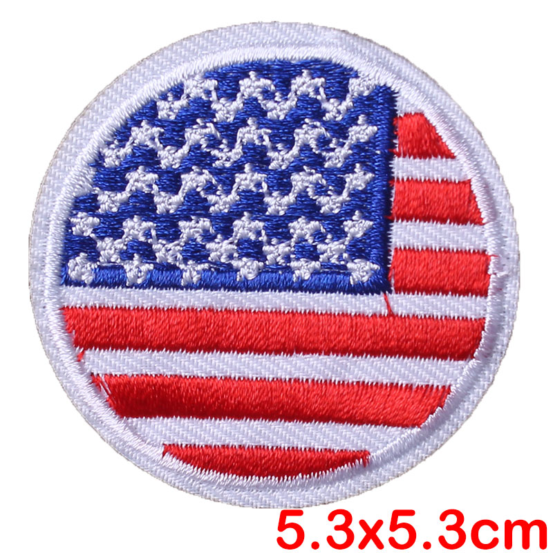 Prajna Round National Flag Patches Iron On Embroidery America Canada Stickers On Patches For Clothing Applique DIY T shirt Decor in Patches from Home Garden