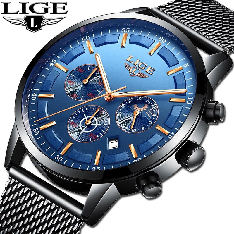 LIGE hommes montres Top marque 2019 nouveaux hommes de luxe décontracté sport montre-bracelet à Quartz hommes mode lune Phase maille ceinture étanche Cl