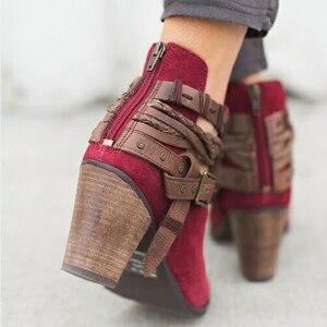 Image 3 - Fanyuan Herfst Winter Vrouwen enkellaars Toevallige Dames schoenen Martin laarzen Suede Lederen Gesp laarzen Hoge hakken rits Sneeuw boot