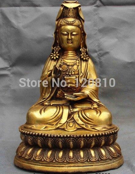 Chinese Fane Copper Bronze Guan Yin Kwan-yin Boddhisattva Goddess StatueChinese Fane Copper Bronze Guan Yin Kwan-yin Boddhisattva Goddess Statue