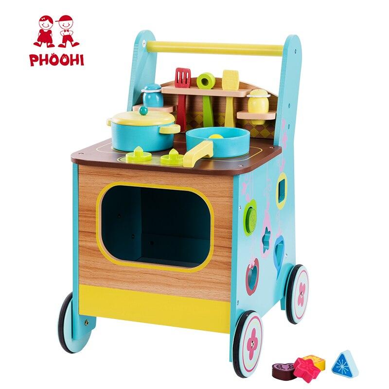 Jeu de jouets de cuisine en bois enfants semblant jouer 2 en 1 jouet de cuisine bébé marcheur pour enfants PHOOHI