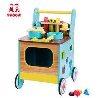 Wooden Kitchen Toy Set Children Pretend Play 2 In 1 Baby Walker Kitchen Toy For Kids PHOOHI