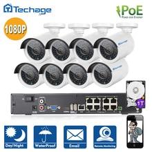 Techage Полный 8CH NVR 1080 P POE Комплект 8 ШТ. 2.0MP IP66 Водонепроницаемый ИК-Камера IP P2P Домашней Безопасности CCTV Система ВИДЕОНАБЛЮДЕНИЯ Комплект