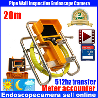 20m Cable Fiber Glass 7 TFT LCD Waterproof Pipe Sewer Inspection Camera CCD600TVL With Meter Accounter