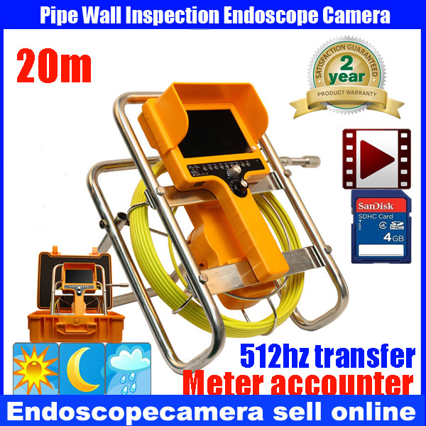 20m Cable Fiber Glass 7'' TFT LCD Waterproof Pipe Sewer Inspection Camera CCD600TVL  with meter accounter Endoscope Snake Camera