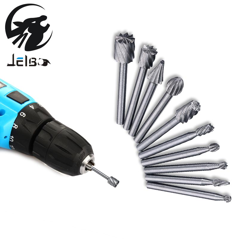 Jelbo 10pcs Power Tools Drill Bit High Speed Steel Milling Rotary File Electric Grinding Polishing Head Engraving Cutter Tools 7 in 1 high speed steel milling cutters rotary file polishing wire brush set silver