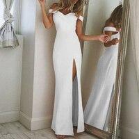 Для женщин сексуальный глубокий v-образный вырез с низким вырезом на спине пряжа Макси платья раза разрез Вечеринка шифоновое свадебное эле...