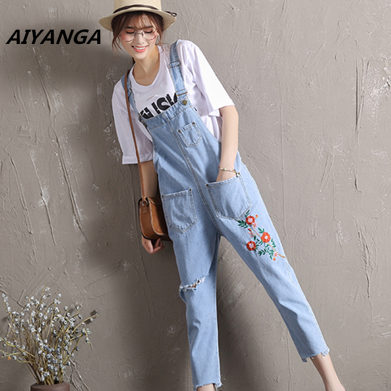 casual fashion strap jeans for women cool hole high waist ankle-length pants embroidery light denim overalls loose trousers new summer vintage women ripped hole jeans high waist floral embroidery loose fashion ankle length women denim jeans harem pants