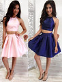 Lovely Halter Neck A-line Mini Cocktail Party Dresses Sleeveless 8 Grade Homecoming Party Gowns Custom