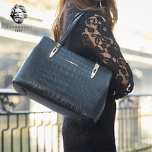 c67fb76ac4f Laorentou Vrouwen Tassen Handtas Krokodil Top-Handvat Tassen Vrouwen Purse  Lady Real Leather Tote Bag