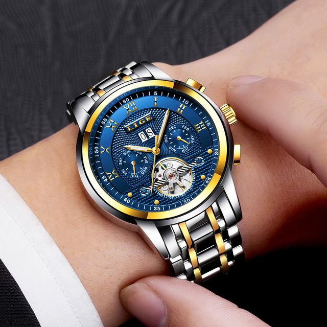 Relogio Masculino LIGE Mens Watches Top Brand Luxury Automatic Mechanical Watch Men Full Steel Business Waterproof Sport Watches