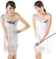 2012 New Latin Oblique Fringed Sequined Dress Nightclubs DS Costumes Fashion Stage Dance Clothes Free Shipping