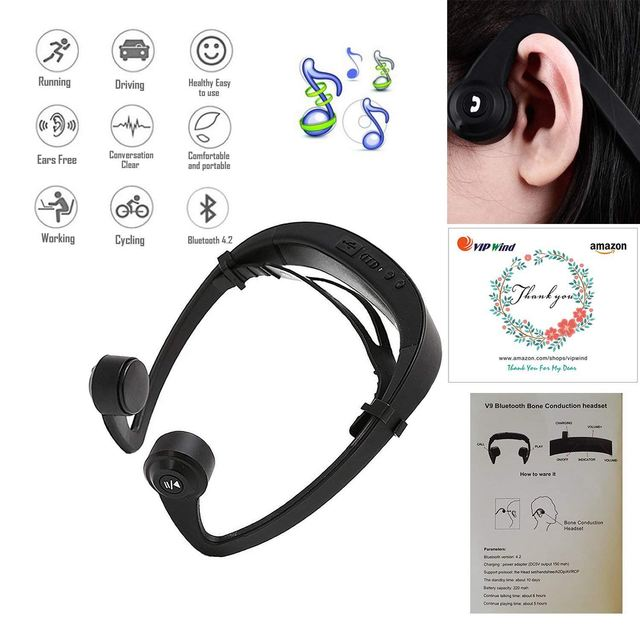 Bone Conduction Headphones, Wireless Bluetooth Headset Sport Gym Waterproof Earphones Built in Mic for iPhone X 8 8plus 7 7plu