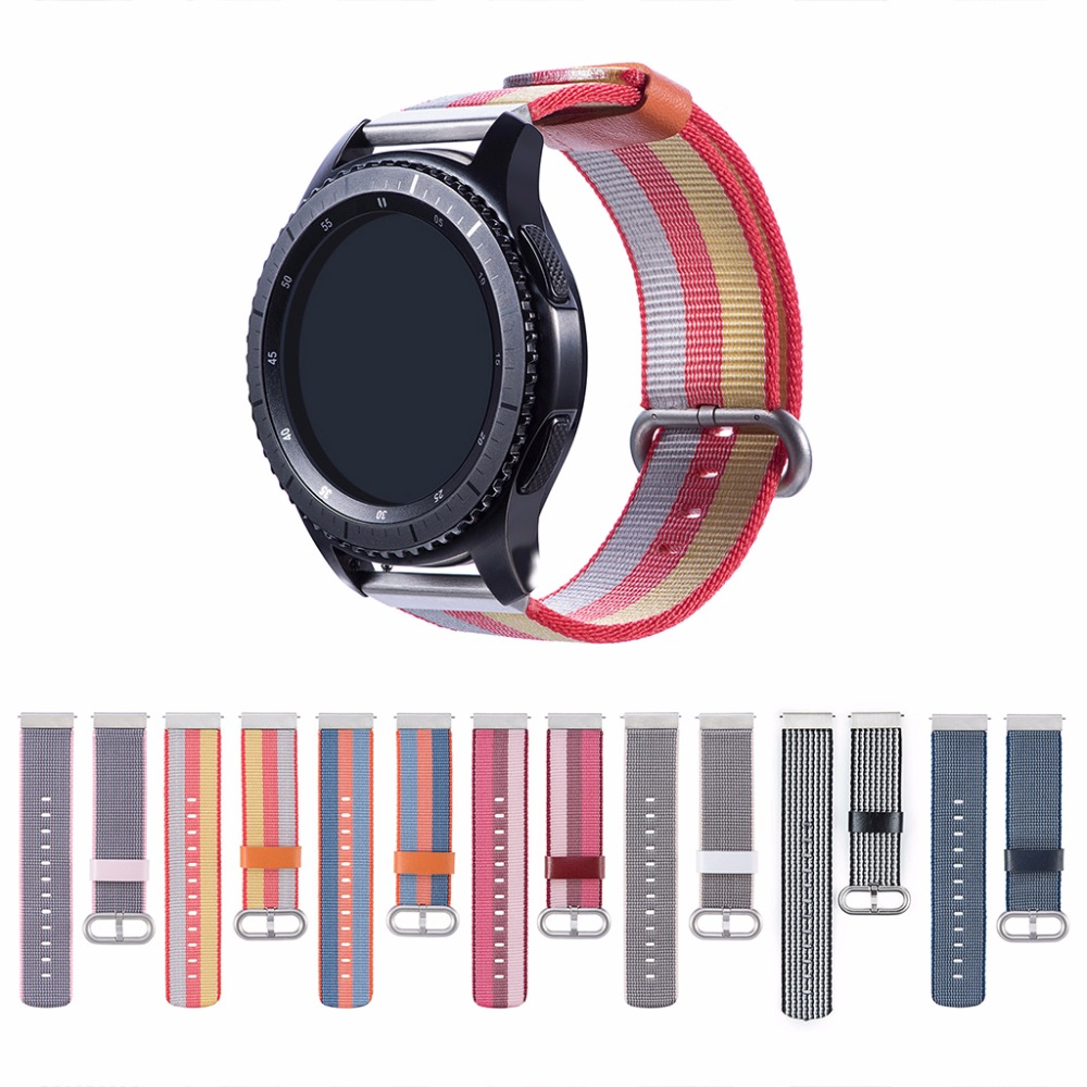 Comfortable and breathable strap Selected nylon watchband strap for Samsung gear S3/Gear2 R380 Huawei Watch GT/honor Magic Watch-in Smart Accessories from Consumer Electronics