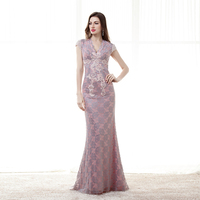 Real Image 2017 New Arrival Lace Mermaid Cap Sleeves V Neck Evening Gowns Long Elegant Evening Dresses
