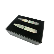 SHANH ZUN Natural Mother of Shell Pearl Collar Stays Mens Accessories Pack of 2 2.37 Inches