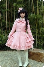 Lovely   Warm Winter Cute Lolita Coat Winter Long Coats All Size with Cappa