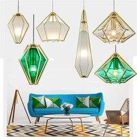 IKVVT Modern Simple Glass Pendant Lights Green/White Diamond Shade Creative Hanging Lamp for Bar Restaurant Livingroom Showroom
