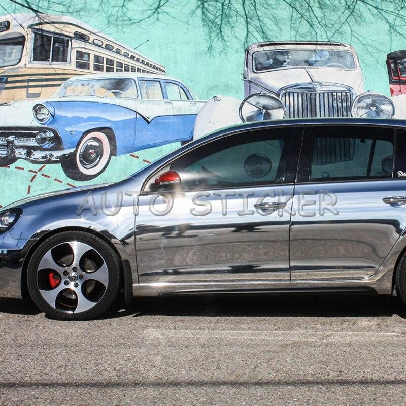 Le plus récent miroir extensible haute argent Chrome miroir flexible vinyle feuille d'enveloppe rouleau Film voiture autocollant décalcomanie taille: 1.52*20 M/rouleau