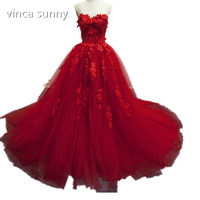 Custom Made 2016 Red Wedding Dresses Sexy Sweetheart Sleeveless Ball Gown Court Train Lace Applique Tulle