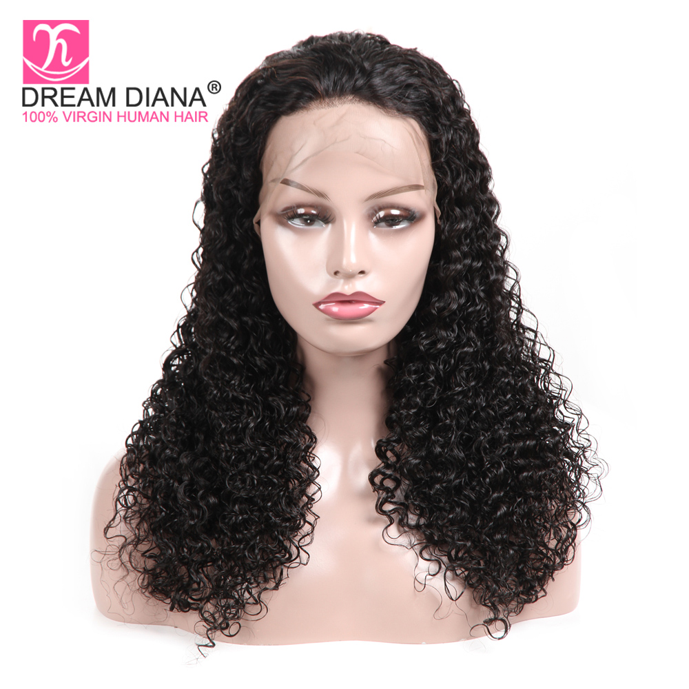 DreamDiana Brazilian Full Lace Curly Wig Remy Water Curl Lace Wigs 100% Human Hair Hand Tied Glueless Full Lace Wigs Pre Plucked(China)
