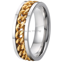 2015 High Quality 18k Gold Plating Pure Titanium Jewelry Cool Man Biker Spinner Rings For Men