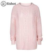 Sishot Women Casual Knitwear 2017 Autumn Pink Plain Hollow Cute Long Sleeve O Neck Slim Knitting