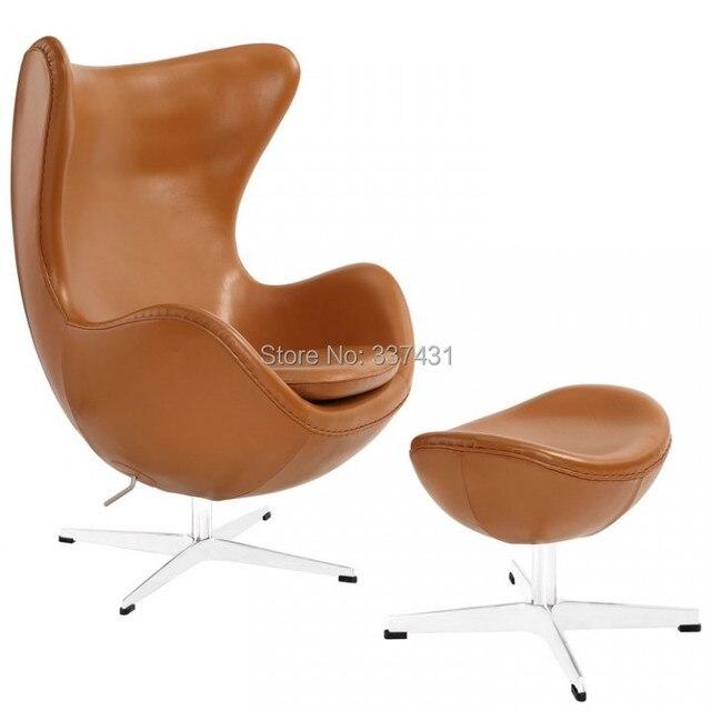 Arne Jacobsen Design Luxury 100% Genuine Leather Egg Chair With Ottoman  Full Set