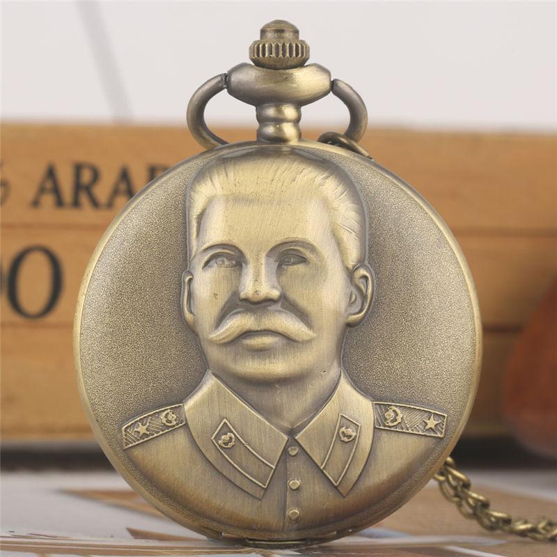 Vintage Stalin Retro Necklace Chain Pocket Watch Concise Cccp Pendant Watches Fashion Alloy  Commander's Clock карманные часы