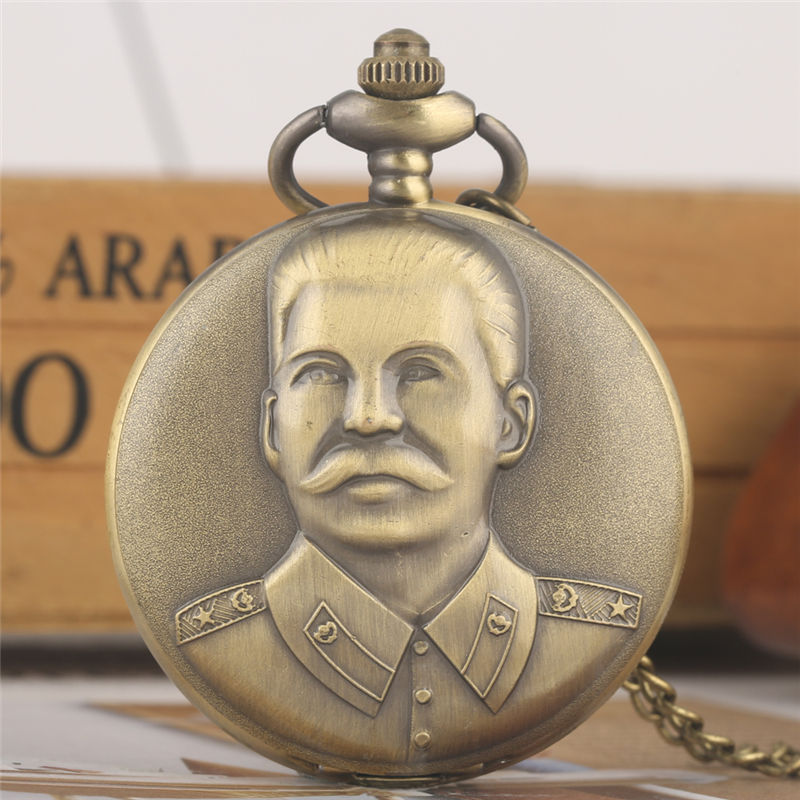 Vintage Stalin Retro Necklace Chain Pocket Watches Concise Large White Dial Case Quartz Fashion Alloy Warcraft карманные часы