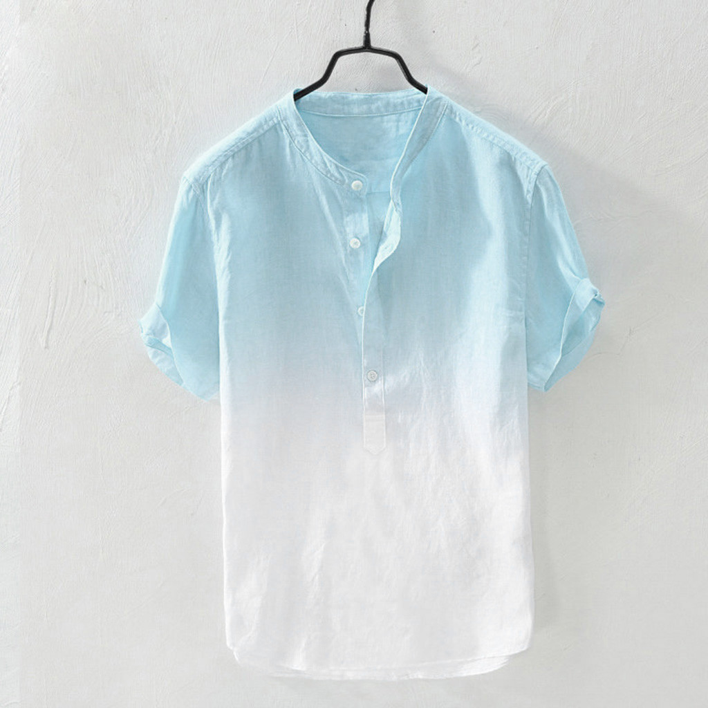 Feitong Summer Men's Cool And Thin Breathable Collar Hanging Dyed Gradient Cotton Shirt Linen Shirt Male