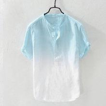 Feitong verão dos homens legal e fino colarinho respirável pendurado tingido gradiente algodão camisa de linho masculino