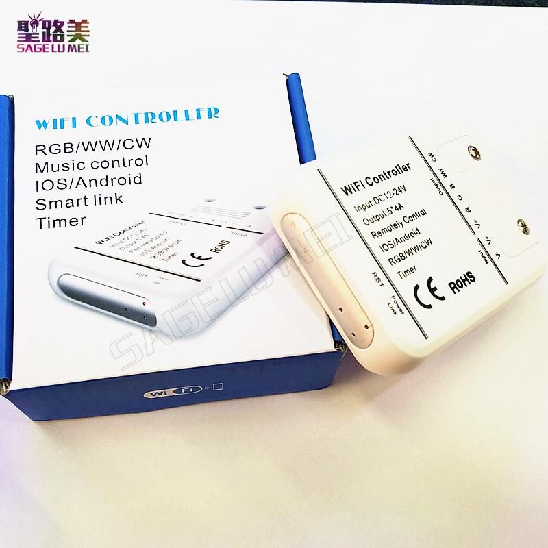 16 миллионов цветов Wi-Fi 5 каналов RGBW/<font><b>WW</b></font>/CW Светодиодный контроллер смартфон управление музыкой и режим таймера Magic дома светодиодный контроллер&#8230;