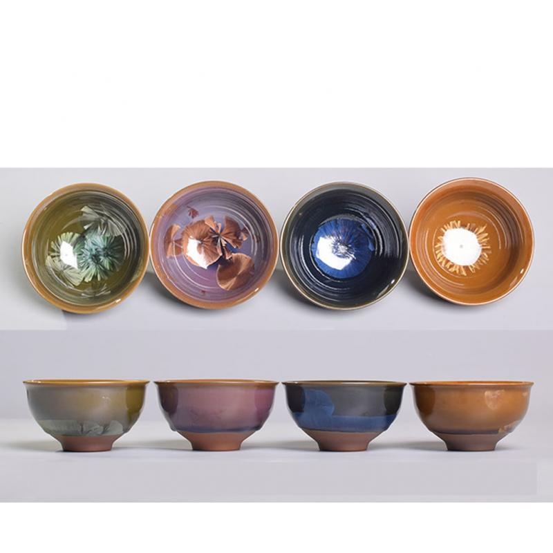 1PCS Ceramic Teacups Colorful Tea Cup Pottery Chinese Style Fashion Porcelain Tea Cup Tea Bowl Mysterious Cup Drinkware in Teacups from Home Garden