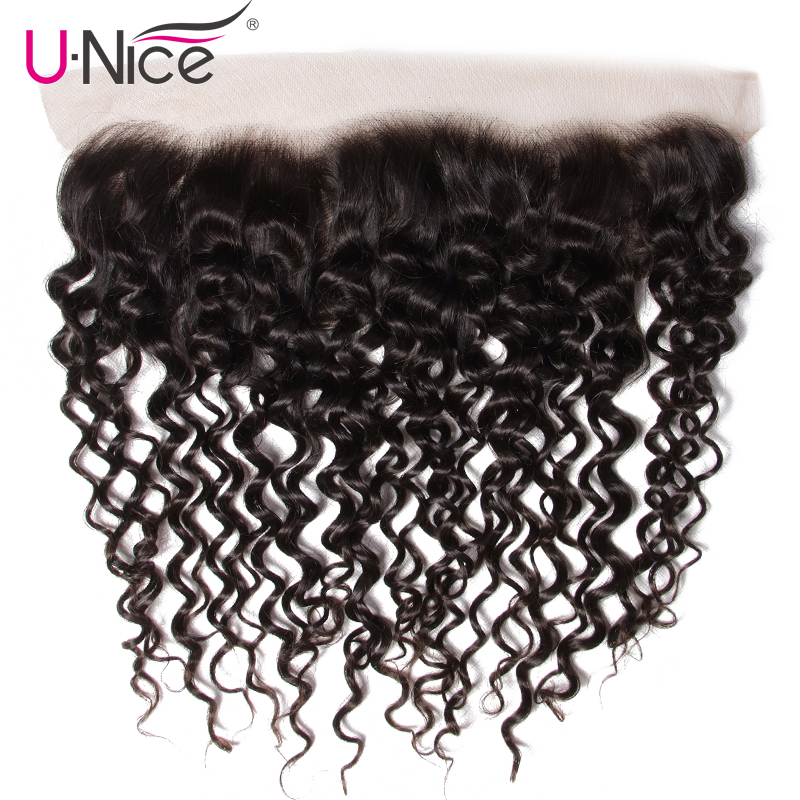 Unice Hair Brazilian Curly Hair Lace Frontal 13 4 Pre Plucked Ear to Ear 100 Human