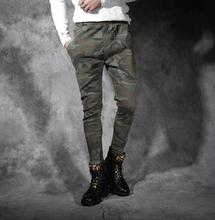 Male camouflage pants personalized feet pant male slim skinny pants mens trousers pantalones hombre cargo korean 2017 new casual