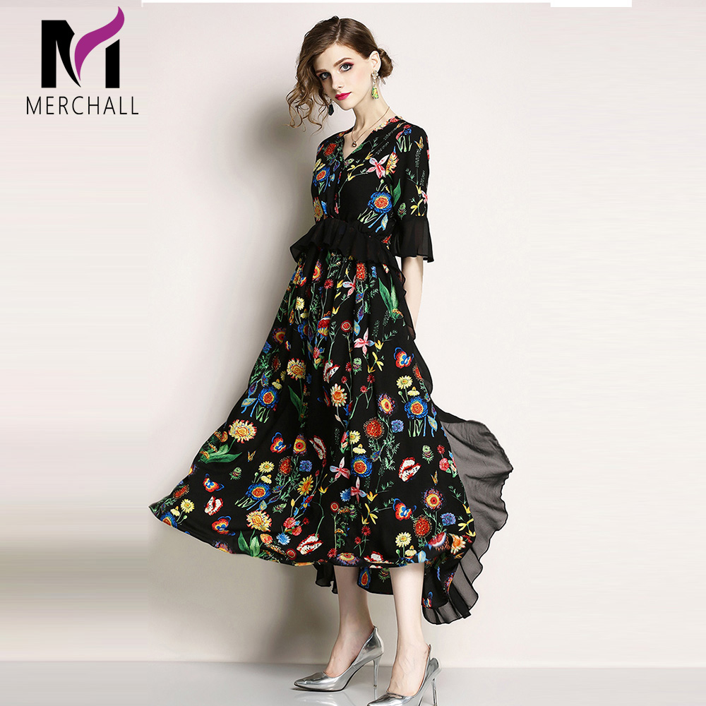 Merchall Fashion Runway Summer Short Sleeve Maxi Dress Women 39 s elastic Waist Floral Print Elegant Party Holiday Long Dress in Dresses from Women 39 s Clothing