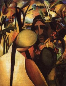 High quality Oil painting Canvas Reproductions Indianer  By August Macke hand painted