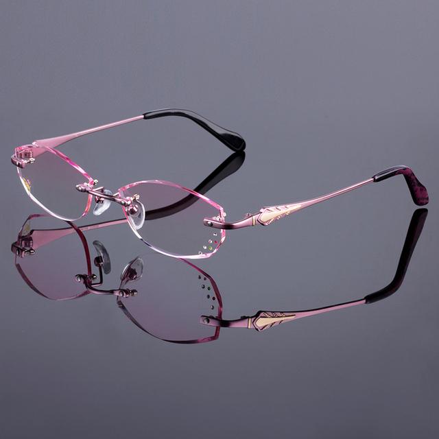 Marco sin rebordes titanium de la aleación de las mujeres marco óptico gafas sin montura de diamante de corte de corte con gradiente de lentes de tinte de buen gusto
