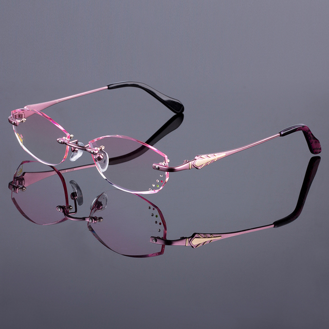885c917f263 Women Rimless Frame Titanium Alloy Optical Frame Diamond Trimming Cut  Rimless Glasses With Gradient Tint Lenses
