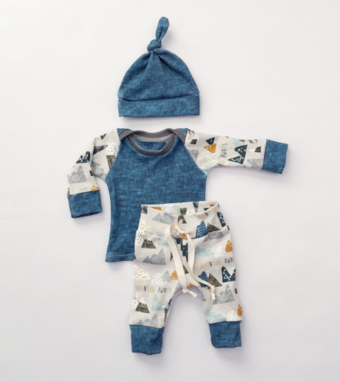 3Pcs Casual Newborn Baby Girls Boys Clothing Set Infant Outfit Set Long Sleeve Tops T-shirt + Pants+hat Casual Clothes H359
